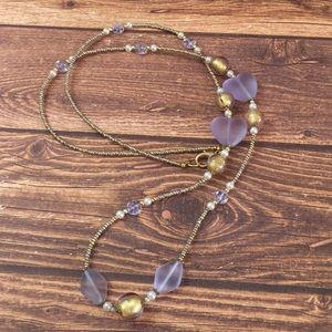 Purple Heart Frosted Glass Seed Bead Long Necklace